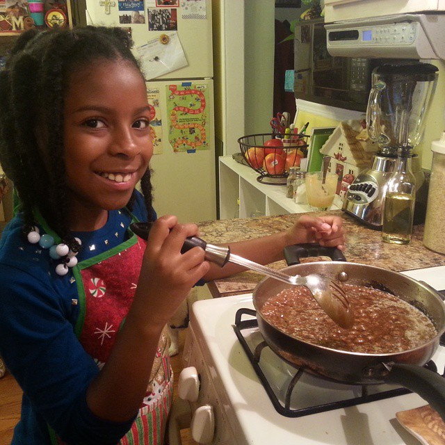 Autumn is making candy to compete in our annual homeschool Christmas Party bakeoff.