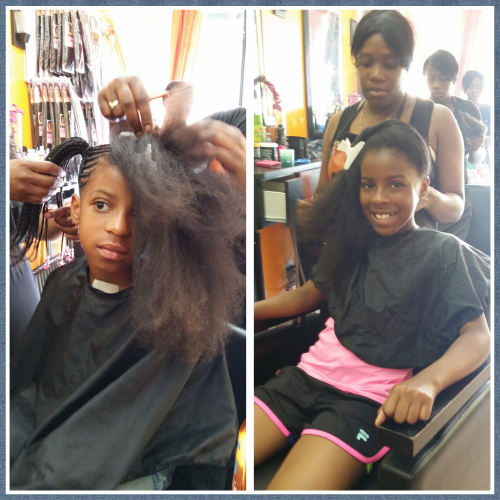 Autumn and Alexis side by side having hair done at salon