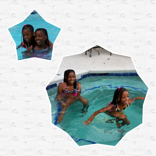 Autumn and Lexy swim